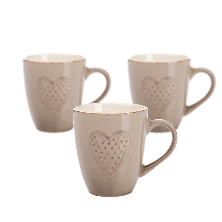 Mug Brown Embossed Heart 300 ml, set of 3 pcs Objectos Decorativos
