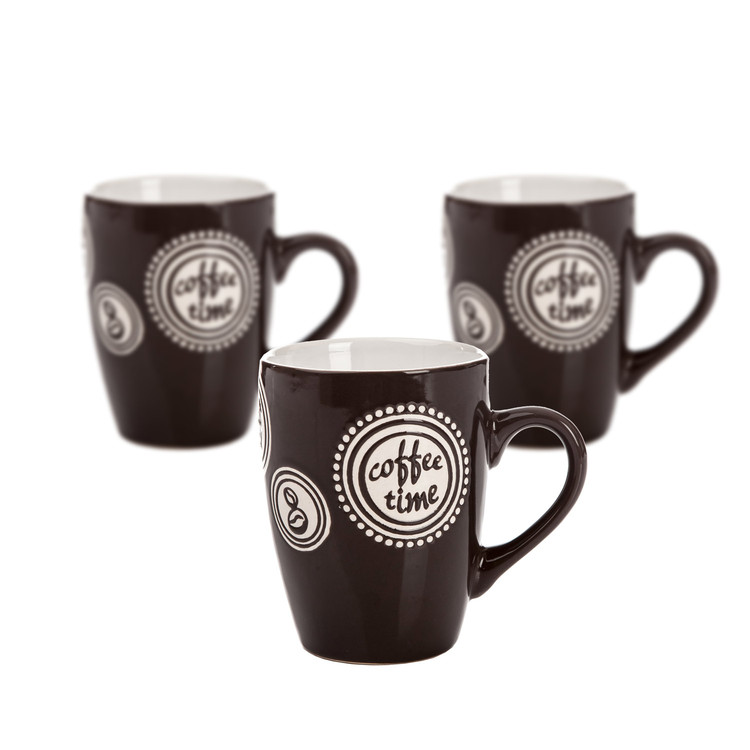 Mug Coffee Time - Dark Brown 300 ml, set of 3 pcs Objectos Decorativos