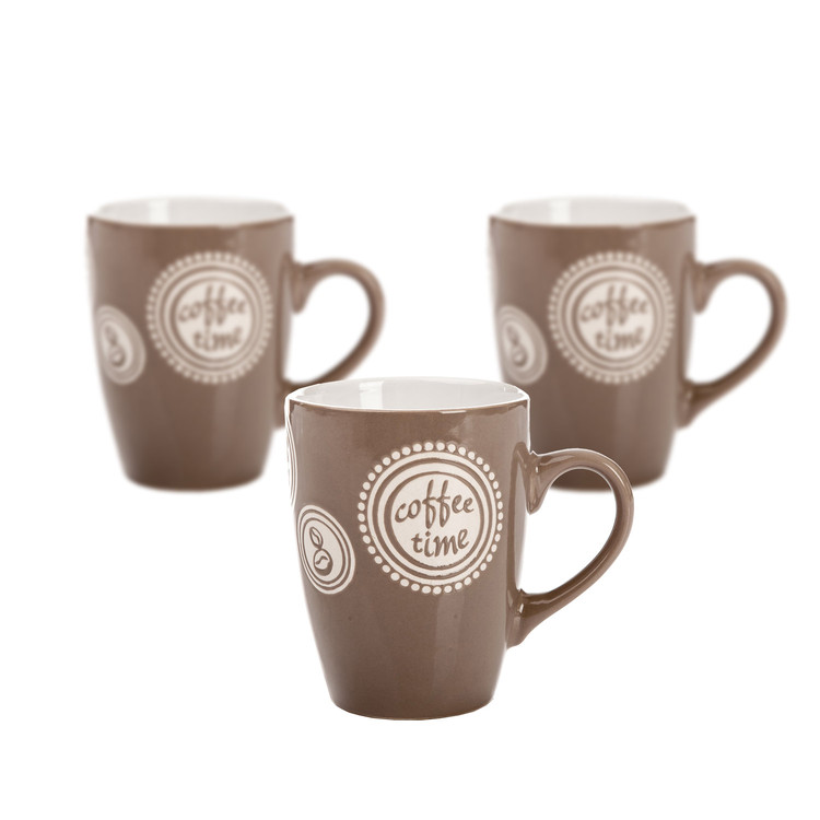 Mug Coffee Time - Light Brown 300 ml, set of 3 pcs Objectos Decorativos