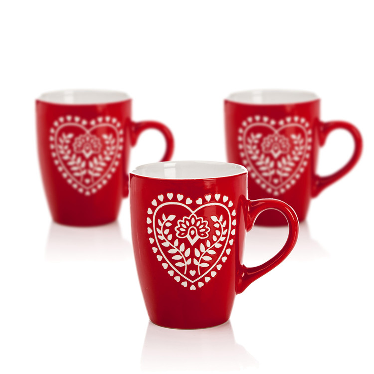 Mug Red-White Heart 300 ml, set of 3 pcs Objectos Decorativos