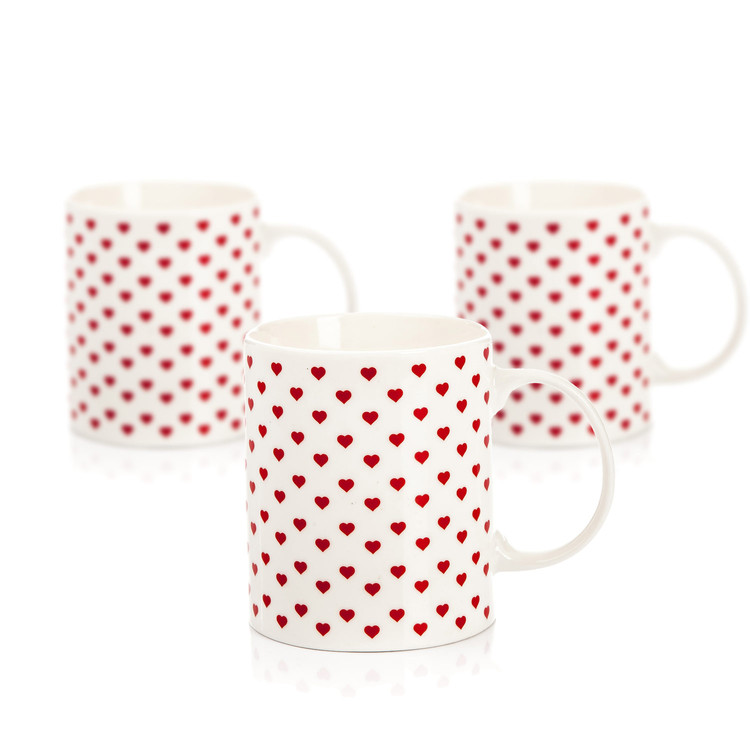 Mug Retro Heart 350 ml, set of 3 pcs Objectos Decorativos