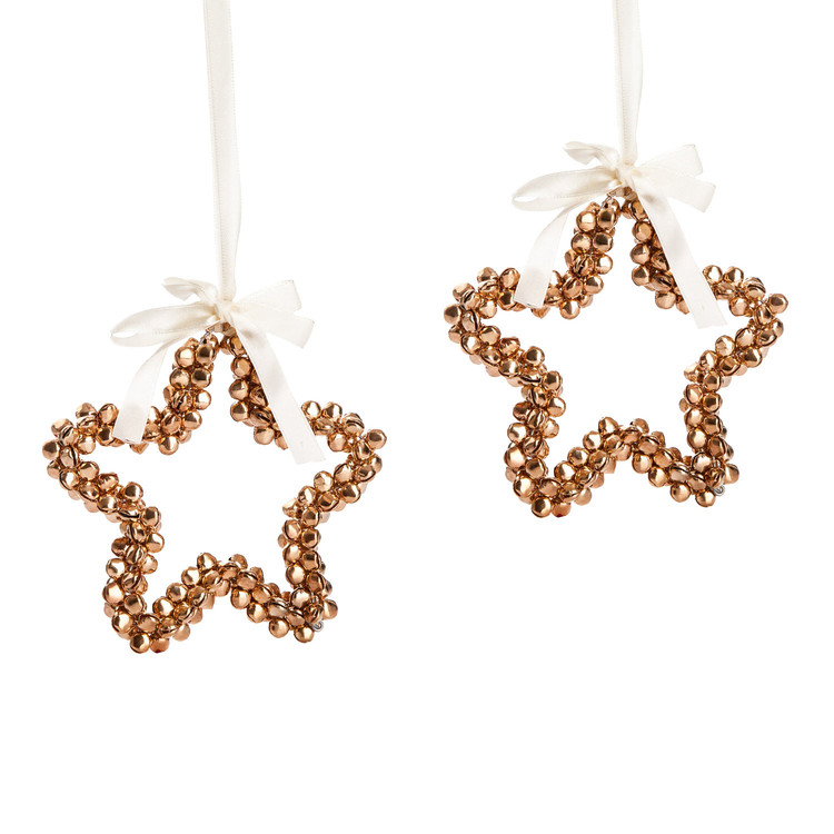 Star with Gold Bells, 10 cm, set of 2 pcs Objectos Decorativos