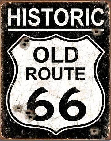 OLD ROUTE 66 - Weathered Plaque métal décorée