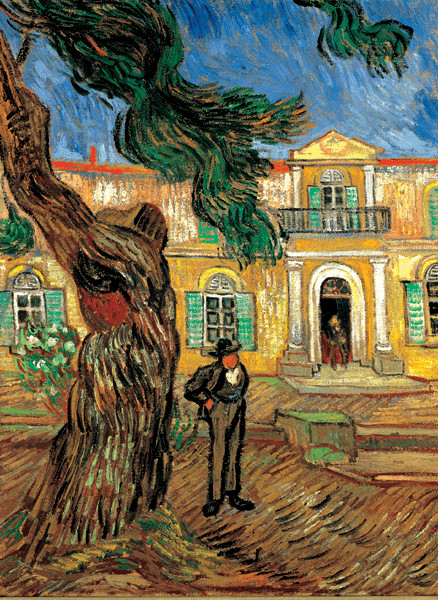 Pine Trees with Figure in the Garden of Saint-Paul Hospital, 1889 Reproduction d'art