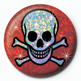 Pins SKULL AND CROSSBONES - red