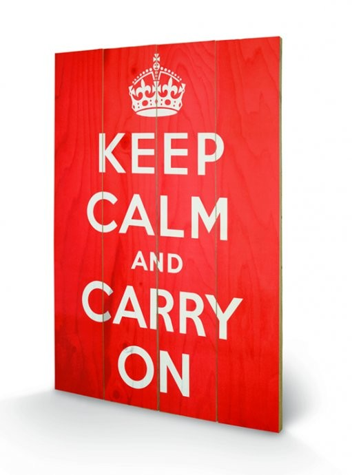 Pintura em madeira Keep Calm and Carry On
