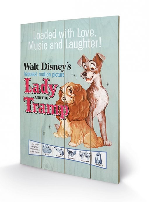 Pintura em madeira Lady And The Tramp - Love, Music and Laughter