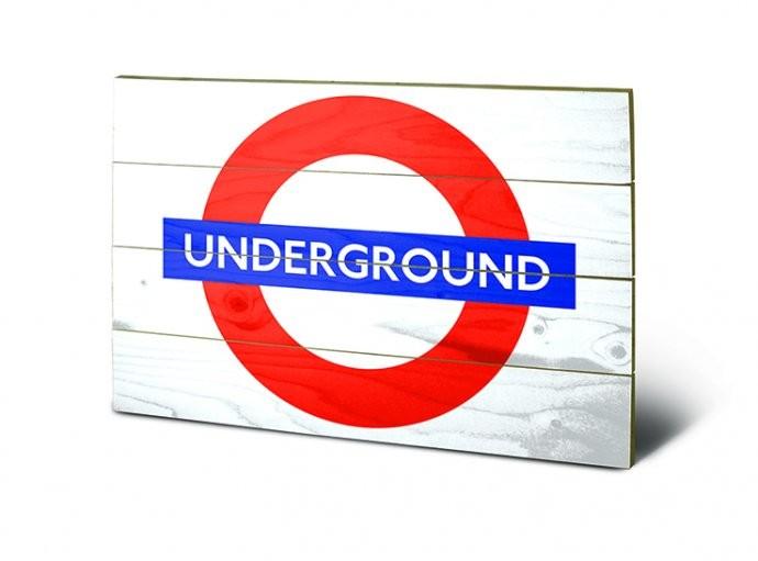 Pintura em madeira London - Underground Sign