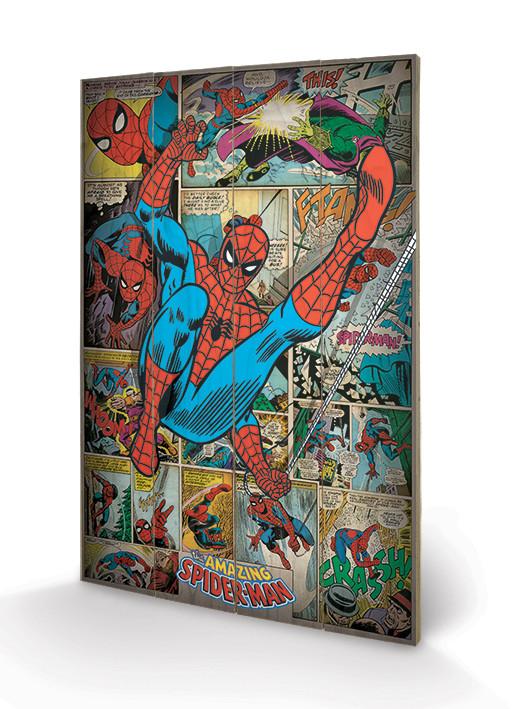 Pintura em madeira Marvel Comics - Spider-man Retro