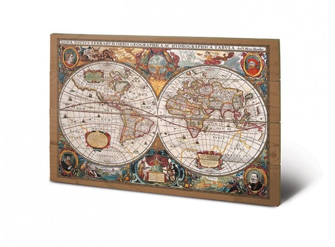 Pintura em madeira World Map - 17th Century