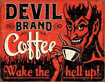Placa de metal Devil Brand Coffee