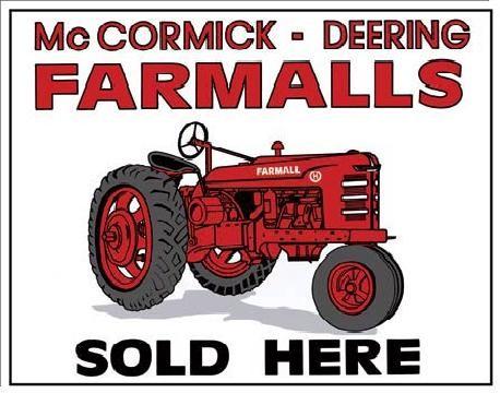 Placa de metal FARMALLS SOLD HERE - tractor