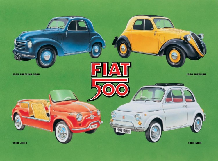 Placa de metal FIAT 500 COLLAGE
