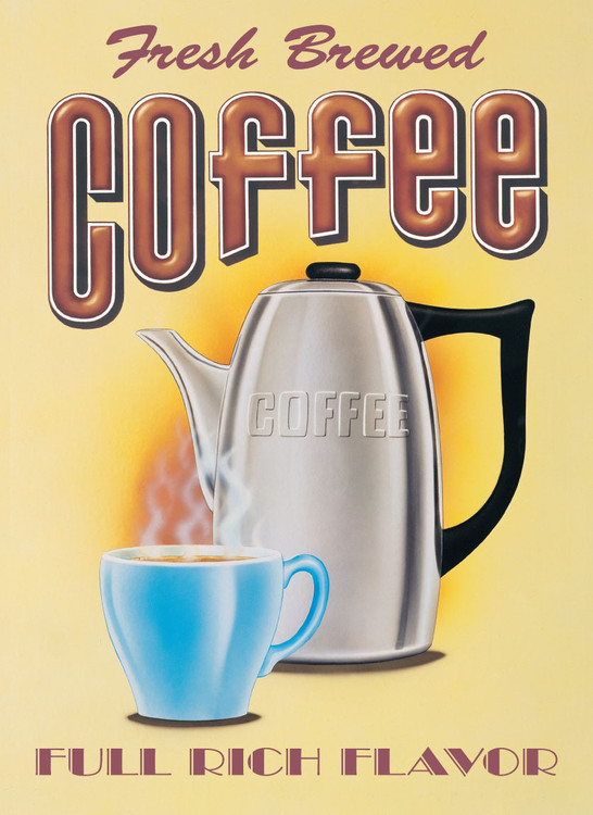 Placa de metal FRESH BREWED COFFEE