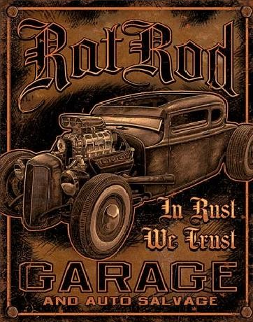 Placa metálica GARAGE - Rat Rod
