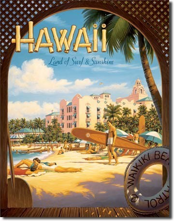 Placa metálica HAWAII SUN ADN SURF