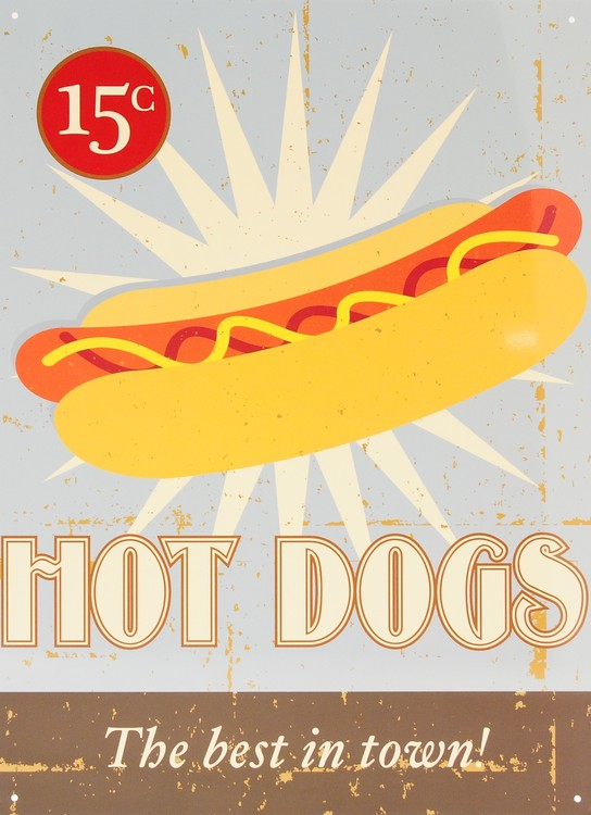 Placa de metal HOT DOGS
