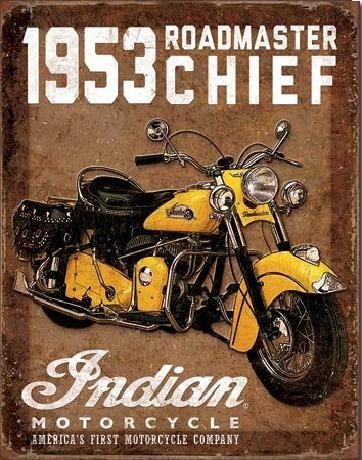 Placa metálica INDIAN MOTORCYCLES - 1953 Roadmaster Chief