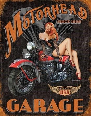 Placa de metal LEGENDS - motorhead garage