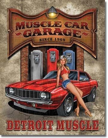 Placa de metal LEGENDS - muscle car garage