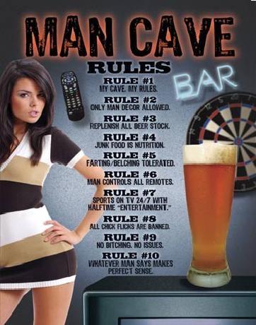 Placa metálica MAN CAVE - Rules