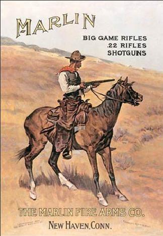 Placa metálica MARLIN - cowboy on horse