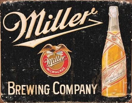 Placa de metal Miller Brewing Vintage