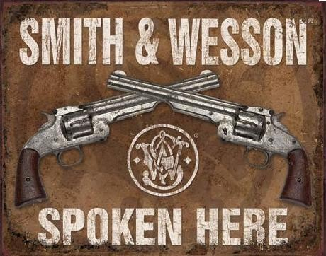 Placa metálica S&W - SMITH & WESSON - Spoken Here