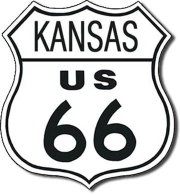 Placa de metal US 66 - kansas