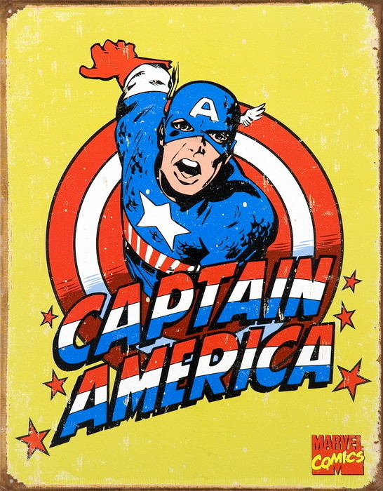 Placa de metal VINTAGE CAPTAIN AMERICA