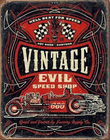 Placa metálica VINTAGE EVIL - Hell Bent Rods