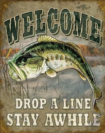 Placa de metal WELCOME BASS FISHING