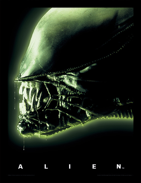 Framed poster Aliens - Head Green