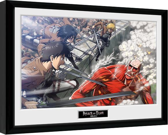 Attack On Titan - Fight Scene Framed poster