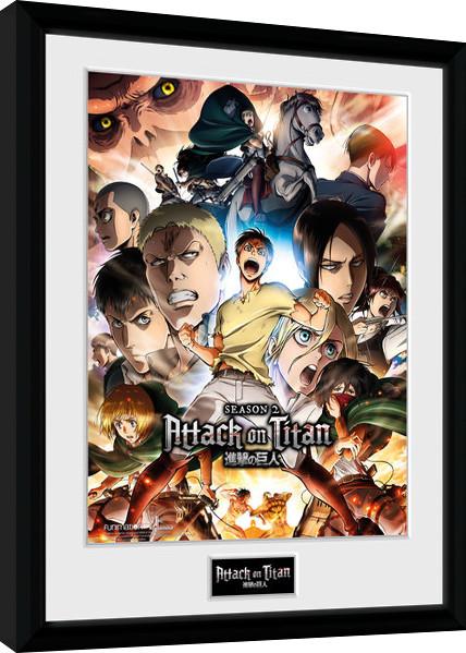 Framed poster Attack on Titan Season 2 - Collage Key Art