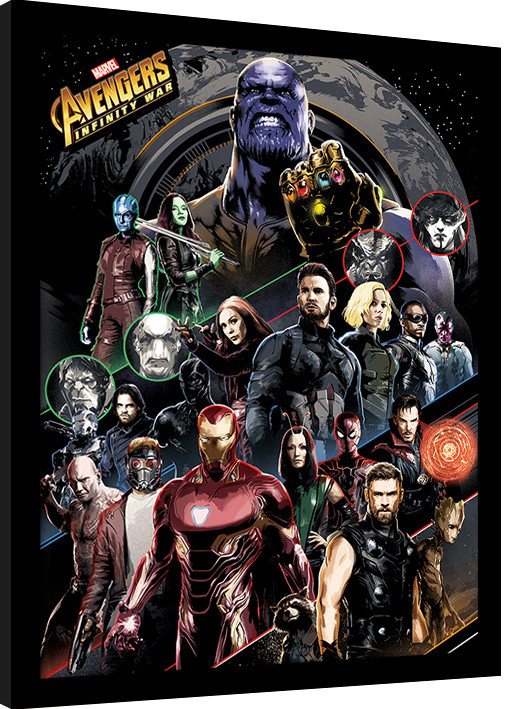 Framed poster Avengers Infinity War - Character Coloured Bands