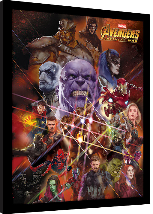 Framed poster Avengers Infinity War - Gauntlet Character Collage