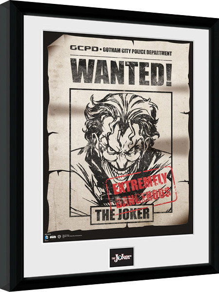 Framed poster Batman Comic - Joker Wanted
