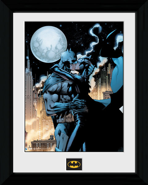 Batman Comic - Moonlit Kiss Framed poster