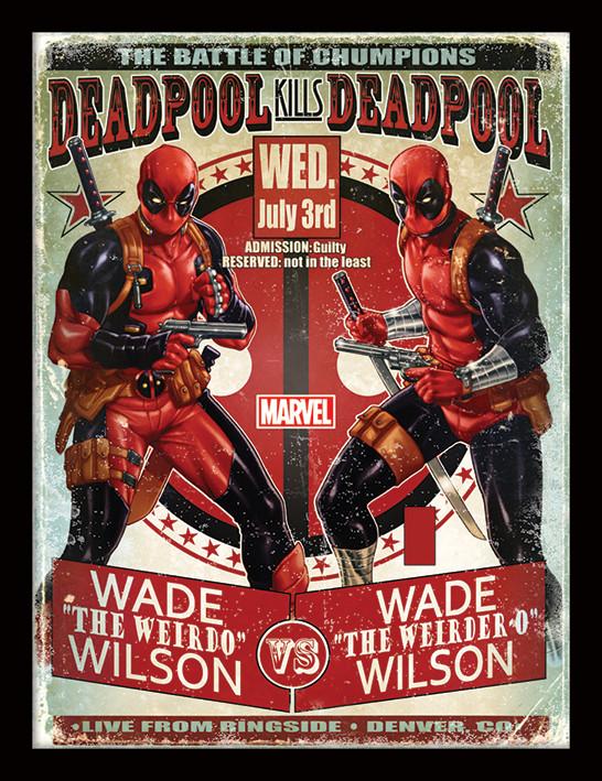 Framed poster Deadpool - Wade vs Wade