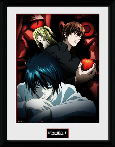 Framed poster Death Note - Light L and Misa