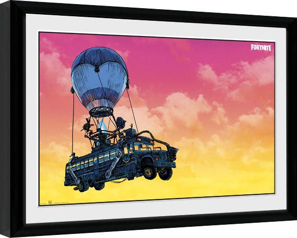 Framed poster Fortnite - Battle Bus