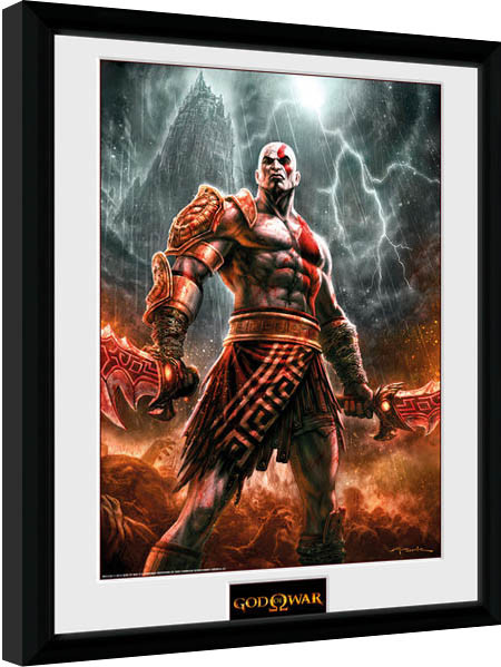 God of War - Kratos Lightening Framed poster