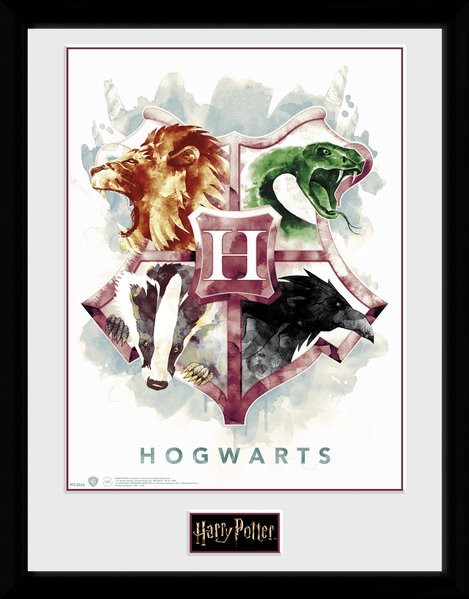 Framed poster Harry Potter - Hogwarts Water Colour