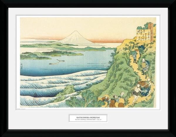 Framed poster Hokusai - Travelers Climbing a Mountain