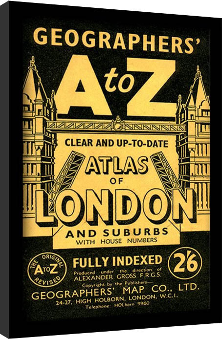London - A-Z Vintage Framed poster