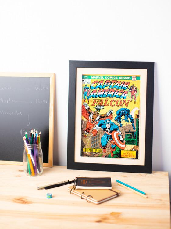 Framed poster Marvel Comics - Captain America