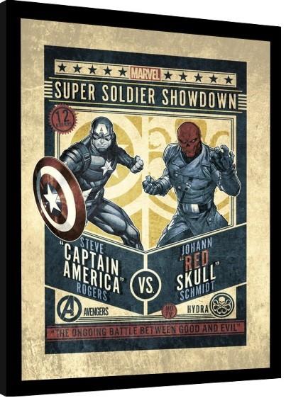 Framed poster Marvel Comics - Captain America vs Red Skull
