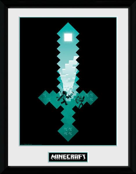 Minecraft - Diamond Sword Framed poster