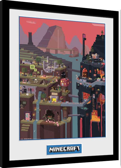Framed poster Minecraft - World